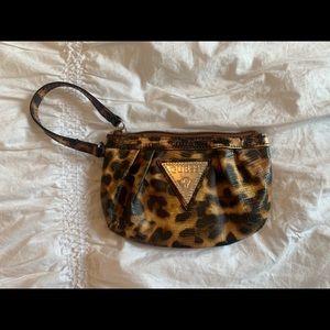 EUC GUESS leopard wristlet